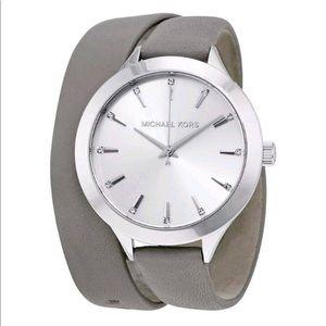 •Michael Kors• Runway Silver Double Wrap Watch